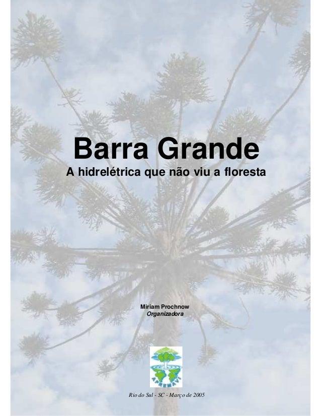Barra Grande A hidrelétrica que não viu a floresta Rio do Sul - SC - Março de 2005 Miriam Prochnow Organizadora