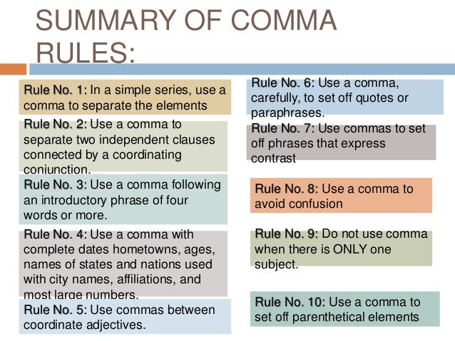 uses of comma The three most common comma rules while there are many specific uses for commas, nearly eighty-five percent of the commas used in written english are used in a mere three situations if you know the basic rule for these three cases, you can use commas in over four-fifths of the times you need to use commas.