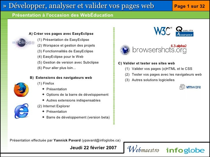 » Développer, analyser et valider vos pages web                                                     Page 1 sur 32    Prése...