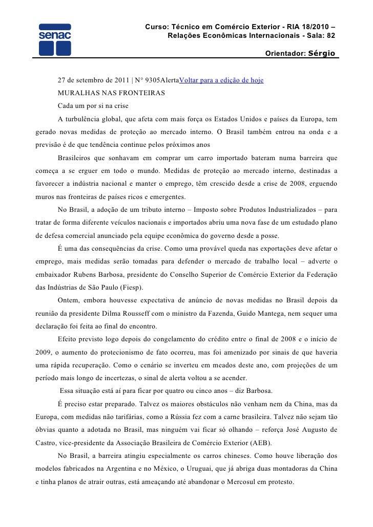 Curso: Técnico em Comércio Exterior - RIA 18/2010 –                                            Relações Econômicas Interna...