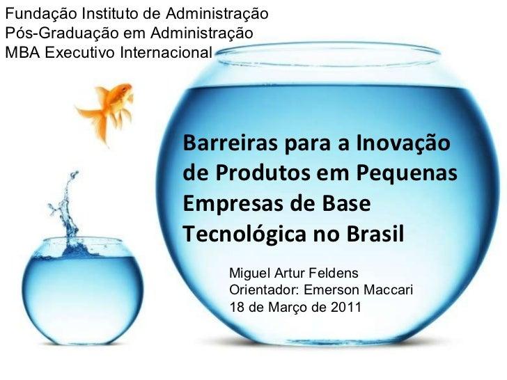 Barreiras para a Inovação de Produtos em Pequenas Empresas de Base Tecnológica no Brasil Fundação Instituto de Administraç...