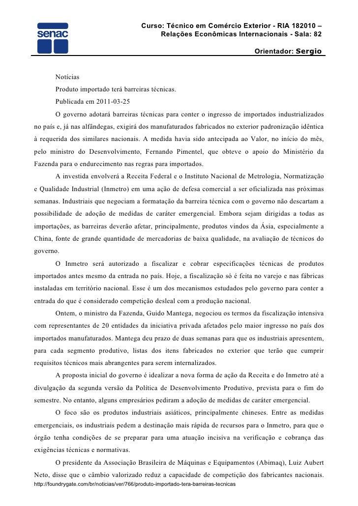 Curso: Técnico em Comércio Exterior - RIA 182010 –                                                 Relações Econômicas Int...