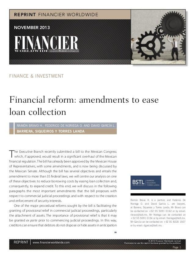 R EPRIN T FINANCIER WORLDWIDE NOVEMBER 2013  FINANCIER  WORLDWIDE corporatefinanceintelligence  FINANCE & INVESTMENT  Fina...