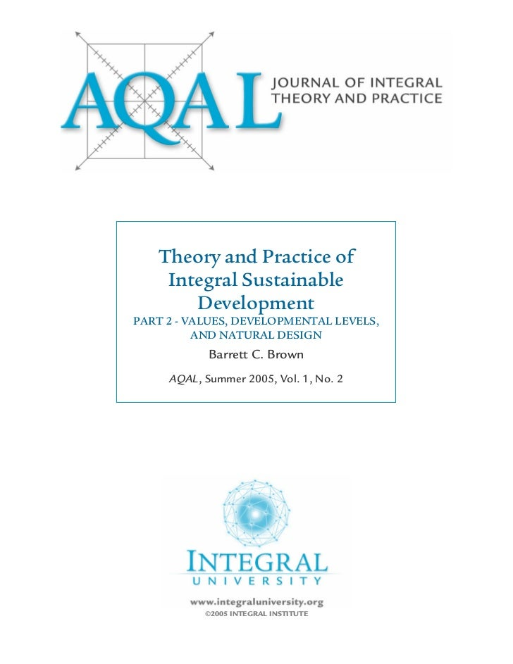 Theory and Practice of    Integral Sustainable       DevelopmentPART 2 - VALUES, DEVELOPMENTAL LEVELS,          AND NATURA...