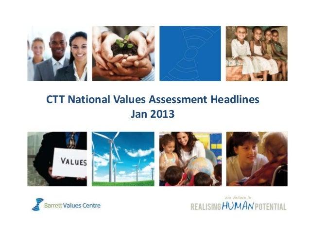 CTT National Values Assessment Headlines                Jan 2013