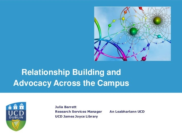 An Leabharlann UCD Julia Barrett Research Services Manager UCD James Joyce Library Relationship Building and Advocacy Acro...