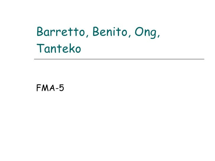Barretto, Benito, Ong, Tanteko FMA-5