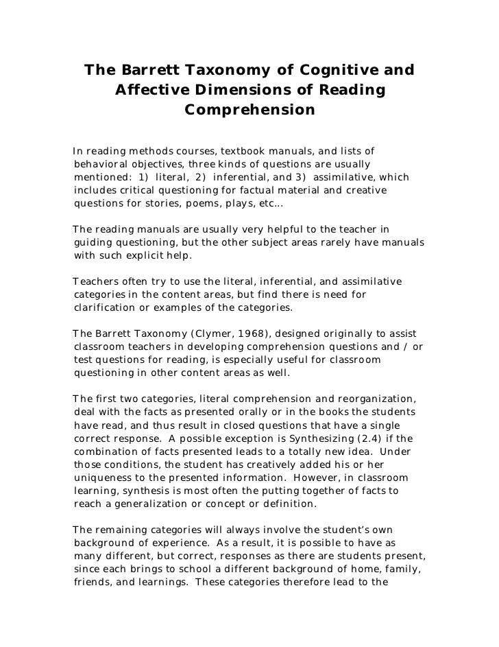The Barrett Taxonomy of Cognitive and     Affective Dimensions of Reading              ComprehensionIn reading methods cou...