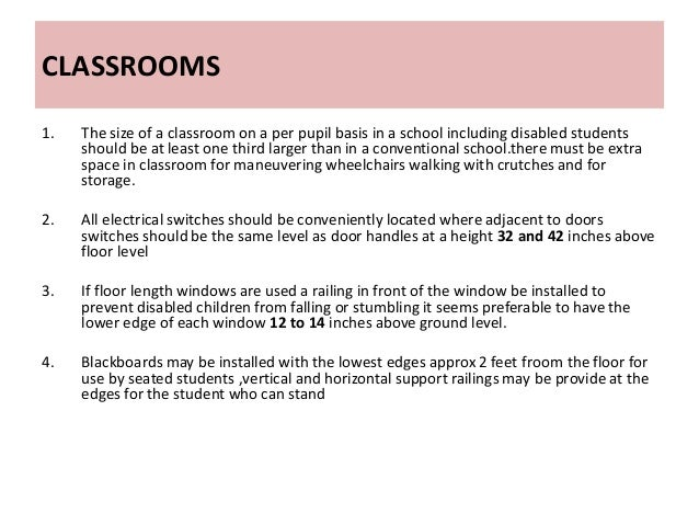Classroom Design For Disabled Students : Barrier free school facilities