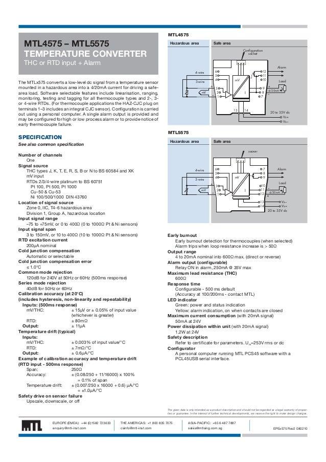 MTL4575  MTL4575 – MTL5575 TEMPERATURE CONVERTER  Hazardous area  Safe area Configuration socket  THC or RTD input + Alarm...