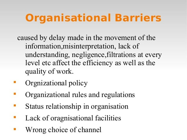 organisational barriers