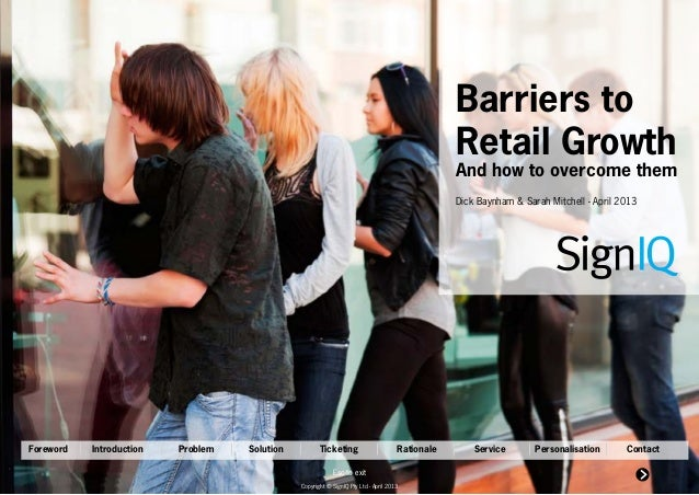 Barriers to                                                                                                 Retail Growth ...