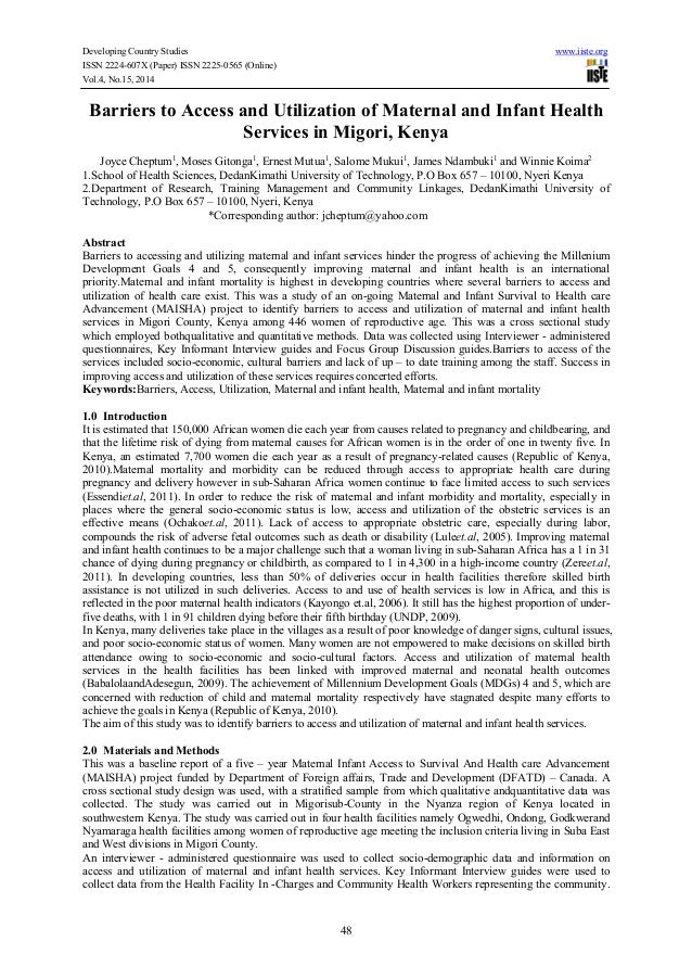 Developing Country Studies www.iiste.org ISSN 2224-607X (Paper) ISSN 2225-0565 (Online) Vol.4, No.15, 2014 48 Barriers to ...