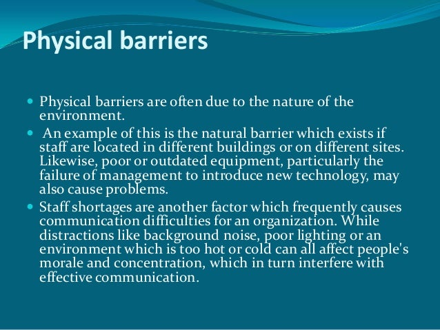 physical barriers in communication examples