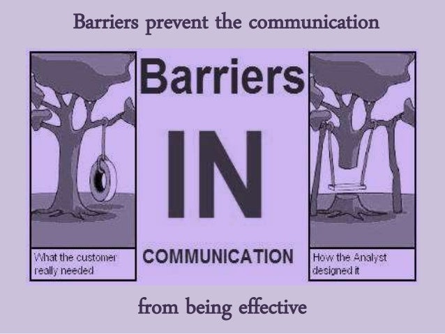 from being effective Barriers prevent the communication