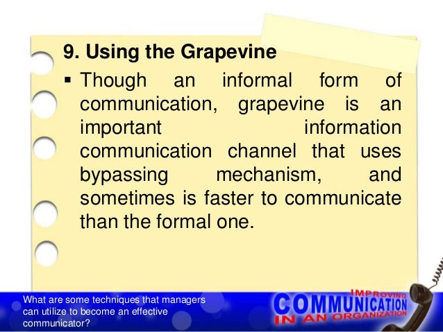 effective use of grapevine communication