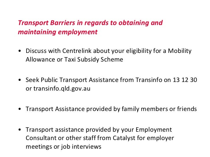 Barriers to employment