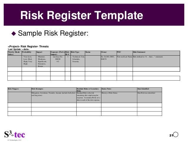 Susan parente presents busting barriers to risk for Hazard risk register template