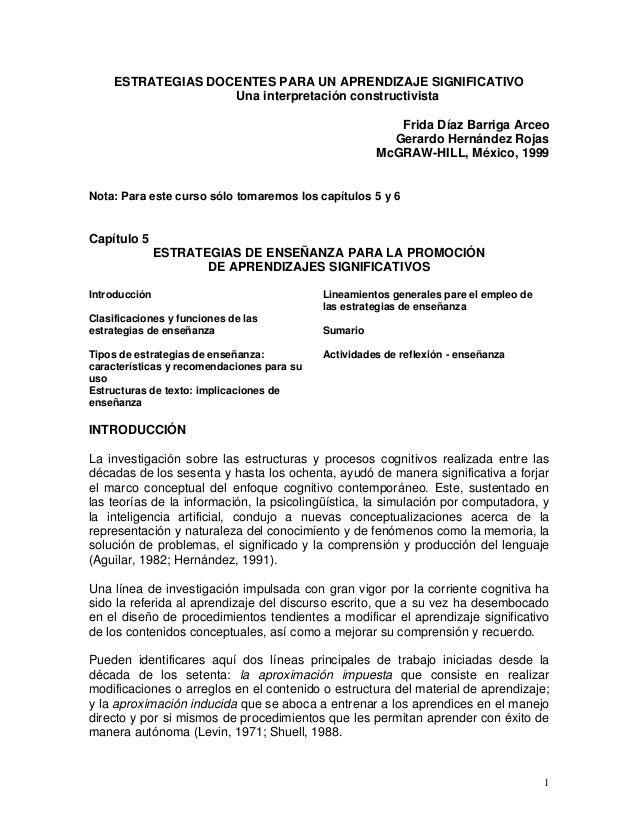 ESTRATEGIAS DOCENTES PARA UN APRENDIZAJE SIGNIFICATIVO Una interpretación constructivista Frida Díaz Barriga Arceo Gerardo...