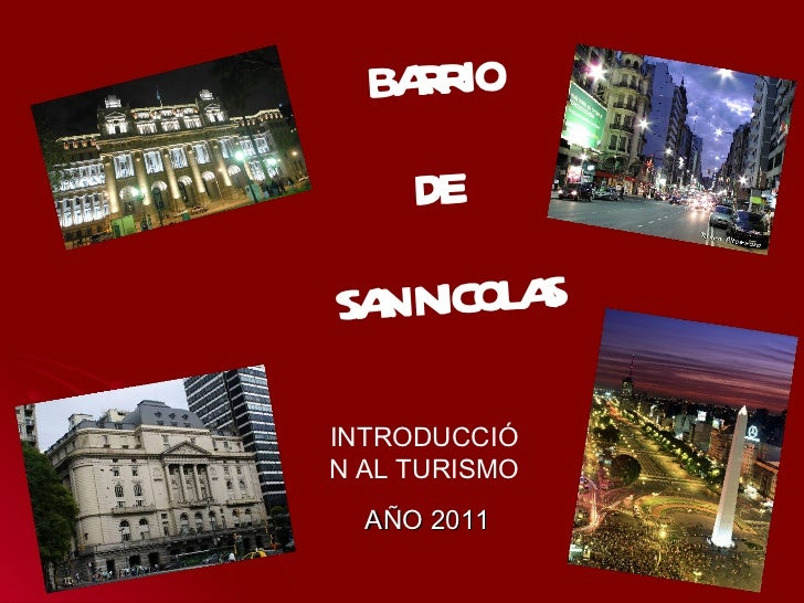 BA RO    RI     DESA NICOL S  N     AINTRODUCCIÓN AL TURISMO  AÑO 2011