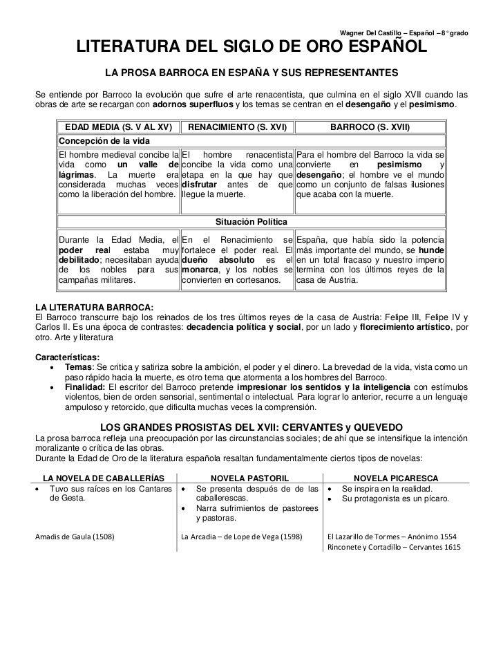 LITERATURA DEL SIGLO DE ORO ESPAÑOL<br />LA PROSA BARROCA EN ESPAÑA Y SUS REPRESENTANTES<br />Se entiende por Barroco la e...