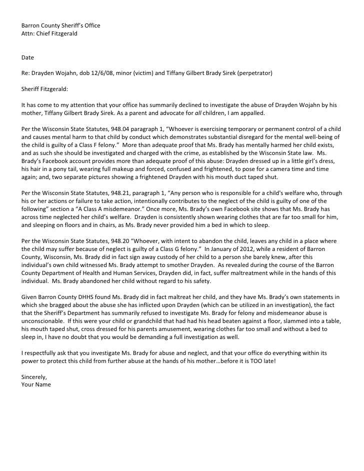 Barron County Sheriff Sample Letter