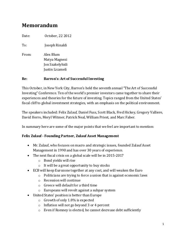 Memorandum Date:                  October, 22 2012 To:                    Joseph Rinaldi From:            Alex Blum       ...