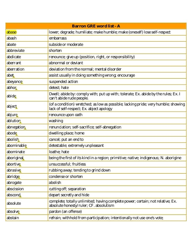 GRE Word Lists
