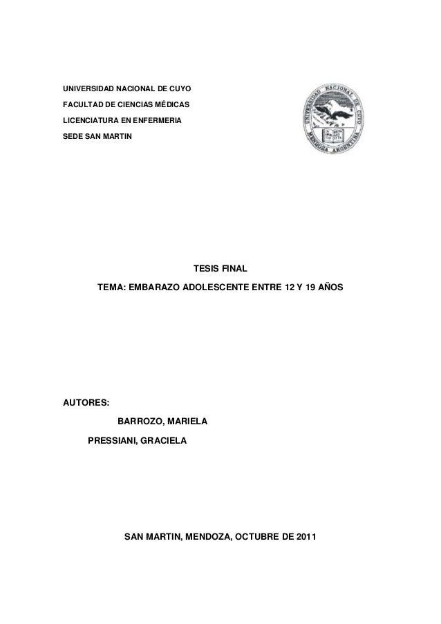 UNIVERSIDAD NACIONAL DE CUYO FACULTAD DE CIENCIAS MÉDICAS LICENCIATURA EN ENFERMERIA SEDE SAN MARTIN TESIS FINAL TEMA: EMB...