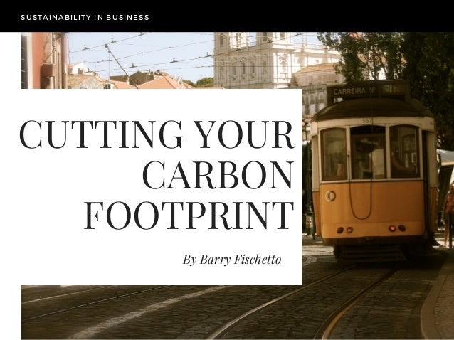 CUTTING YOUR CARBON FOOTPRINT By Barry Fischetto SUSTAINABILITY IN BUSINESS