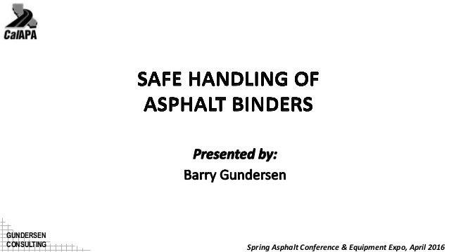 Safe Handling of Asphalt Binders