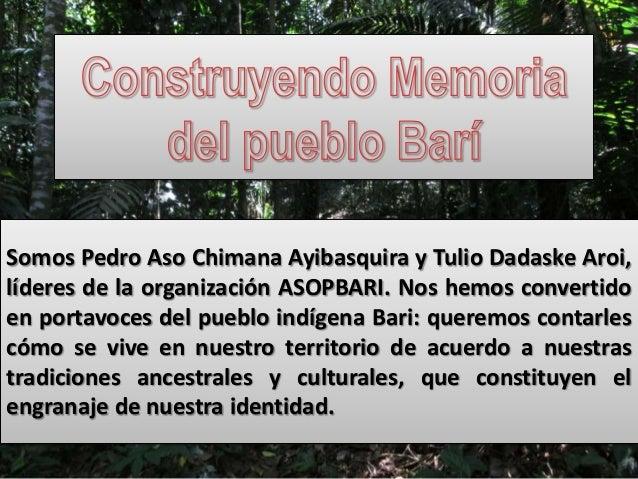 Somos Pedro Aso Chimana Ayibasquira y Tulio Dadaske Aroi, líderes de la organización ASOPBARI. Nos hemos convertido en por...