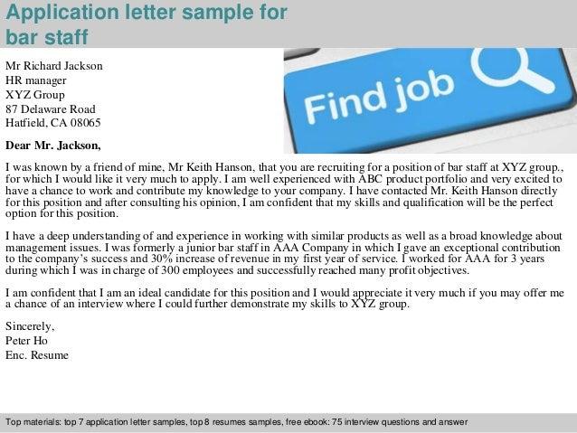 Bar staff application letter