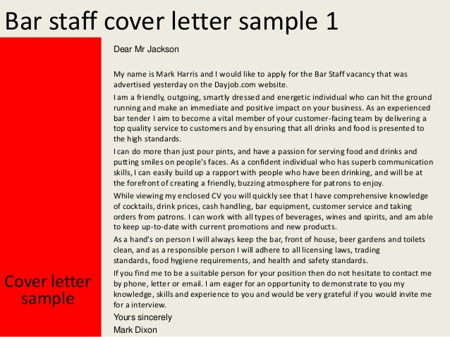 Bar staff cover letter