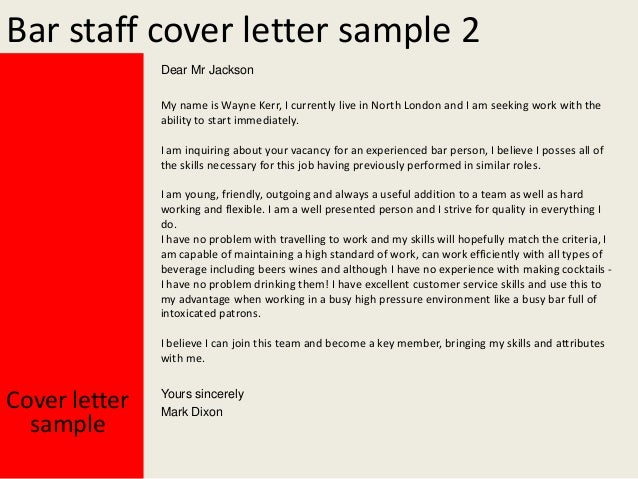 Cover Letter Examples For Bar Job