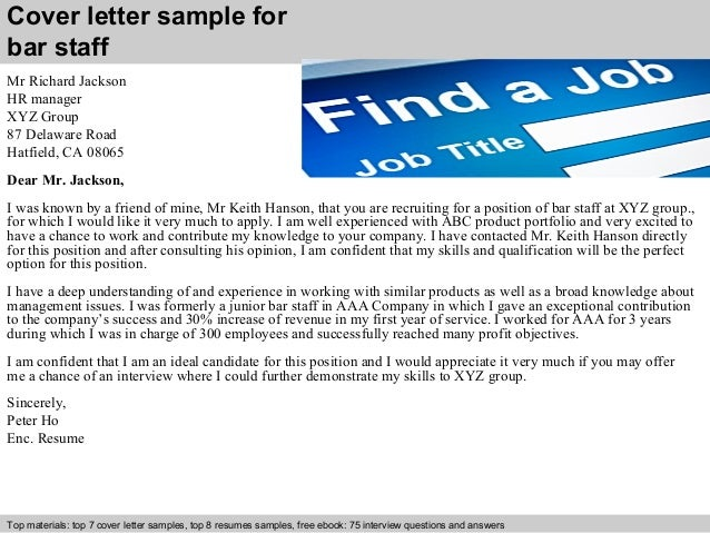 Wait Staff Job Cover Letter Free Example
