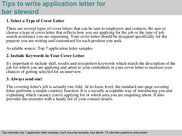 Bar steward application letter