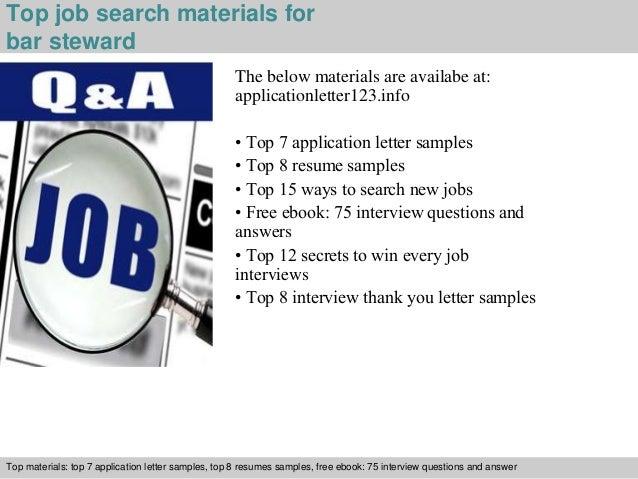 ... 5. Top Job Search Materials For Bar Steward ...