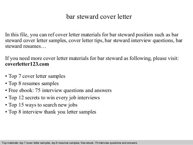 Bar Steward Cover Letter In This File, You Can Ref Cover Letter Materials  For Bar ...