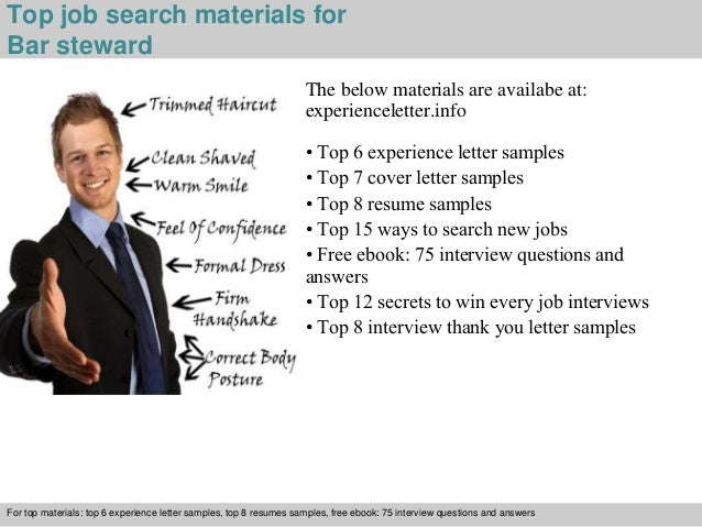 ... 4. Top Job Search Materials For Bar Steward ...