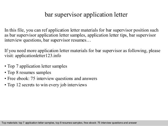Bar Supervisor Application Letter In This File, You Can Ref Application  Letter Materials For Bar ...