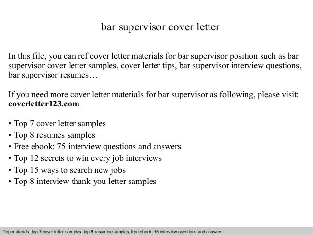 bar supervisor cover letter in this file you can ref cover letter materials for bar cover letter sample