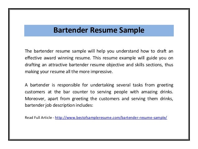 Sample Resume For Bartender – Sample Resume for Bartender Server
