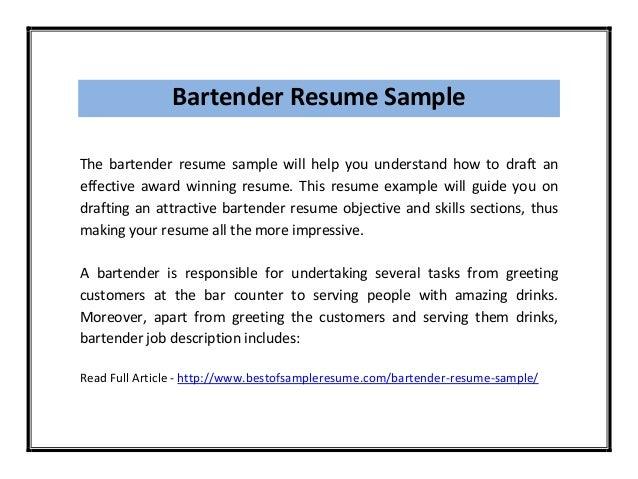 Bartender ...  Examples Of Bartender Resumes