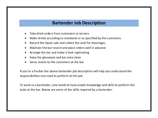Examples Of Bartending Resumes Bartender Resume Templates Newsound