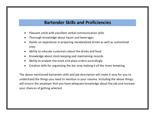 Resume Examples Bartending Samples Objective For Good Bartender