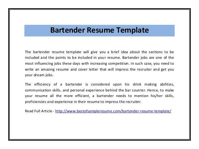 Bartender Resume Template Pdf