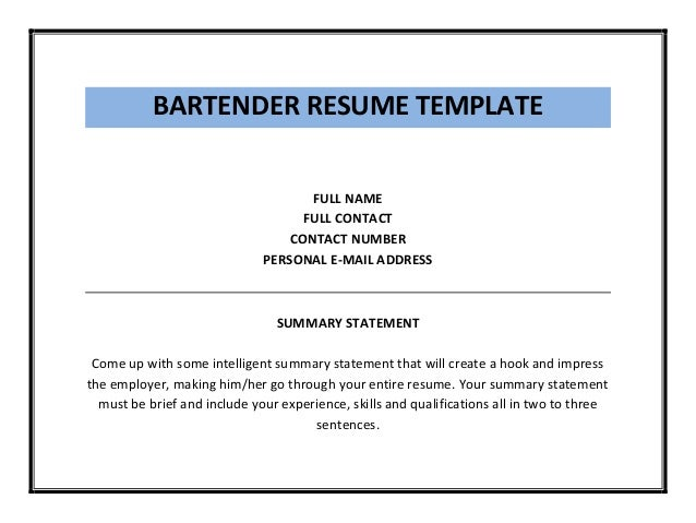 Entry Level Bartender Resume. Resume Templates Bartender Example