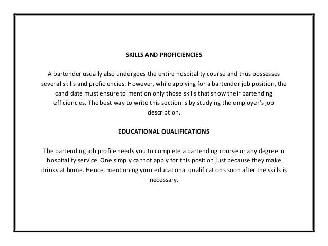 Sample Bartender Resume Objectives Writing Examples Objective For