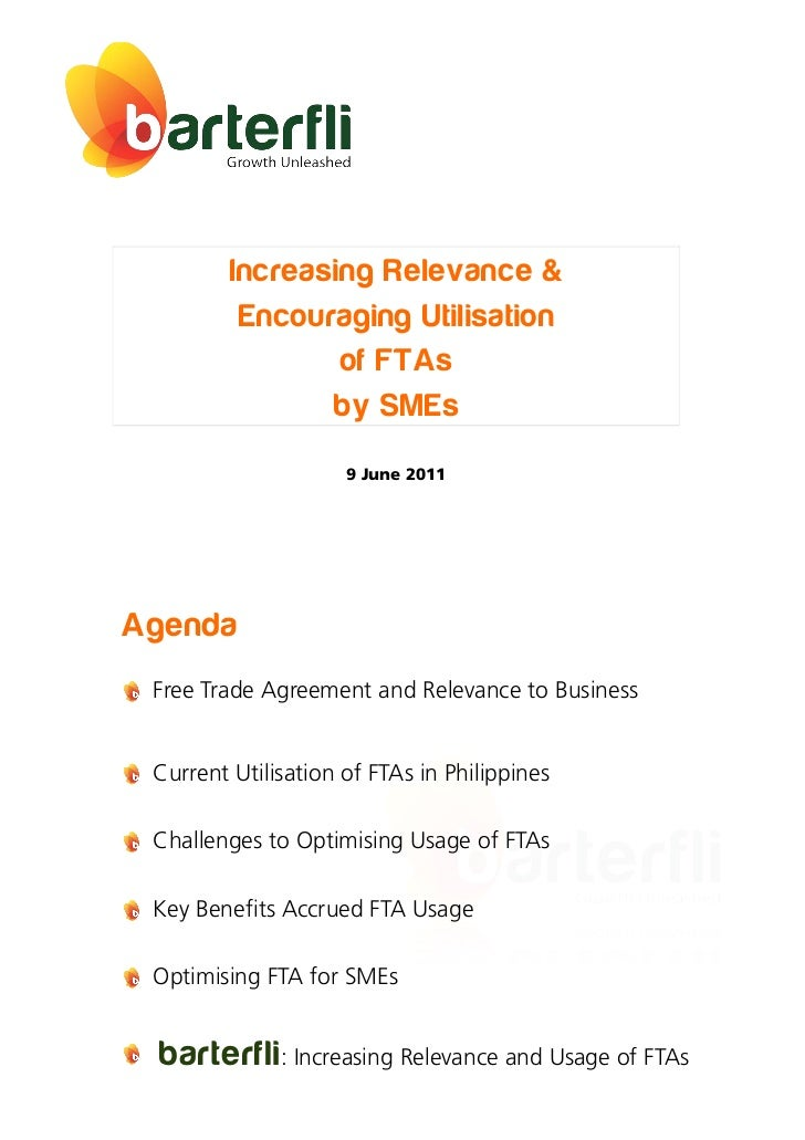 Increasing Relevance &          Encouraging Utilisation                 of FTAs                by SMEs                    ...